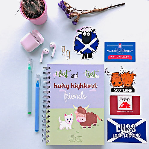 Scottish cute notebook front cover view