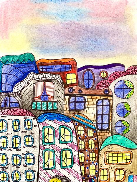 Fenêtres. Maisons. Soirée.