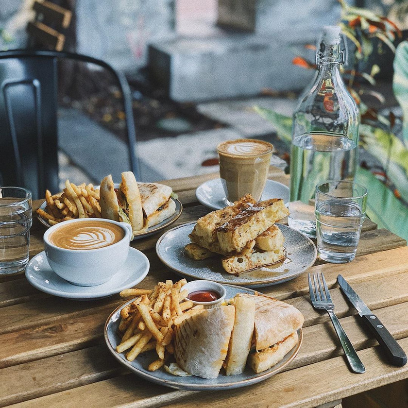 Panini with Fries and Latte at Just Caffe, Jalan Green Hall