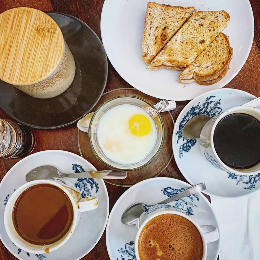 Kaya Butter Toast with Soft-Boiled Eggs with Kopi at Coffee Cave Cafe