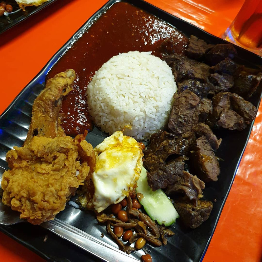 Uncle Lanz Nasi Lemak with a huge piece of fried chicken