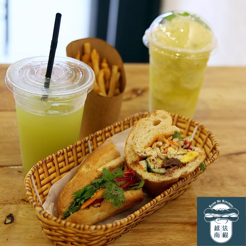 2 cups of Sugar Cane Juice, French Fries and Banh Mi