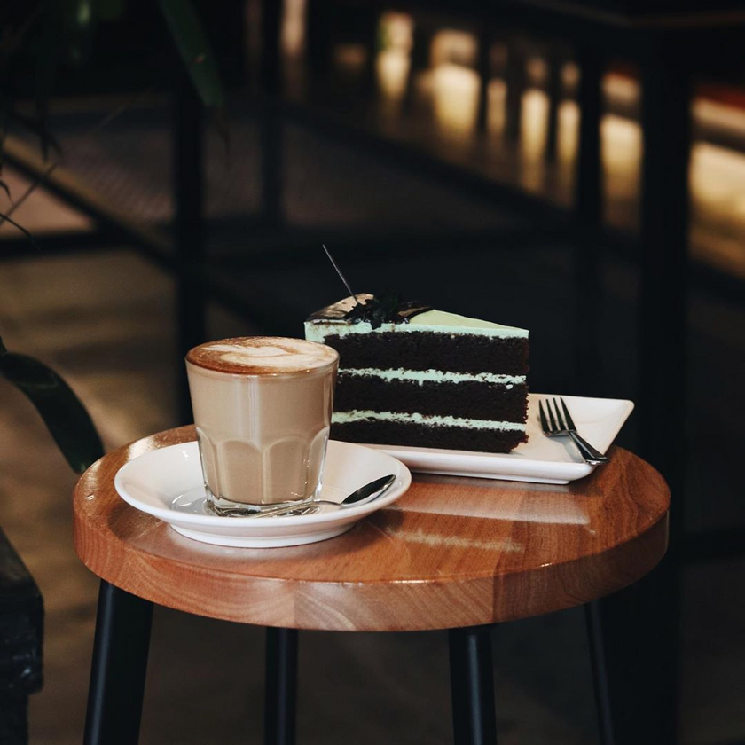 Latte and Cake at Black Kettle