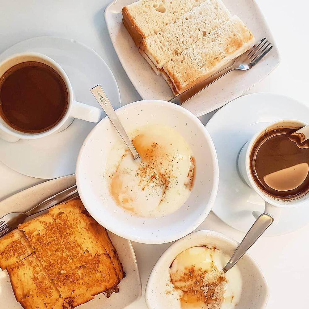 Toastea Coffee. Toast with soft boiled eggs
