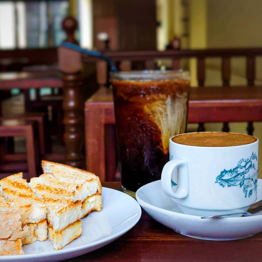 Roti Bakar, Kopi and Iced Coffee at Coffee Cave Cafe by Toh Soon