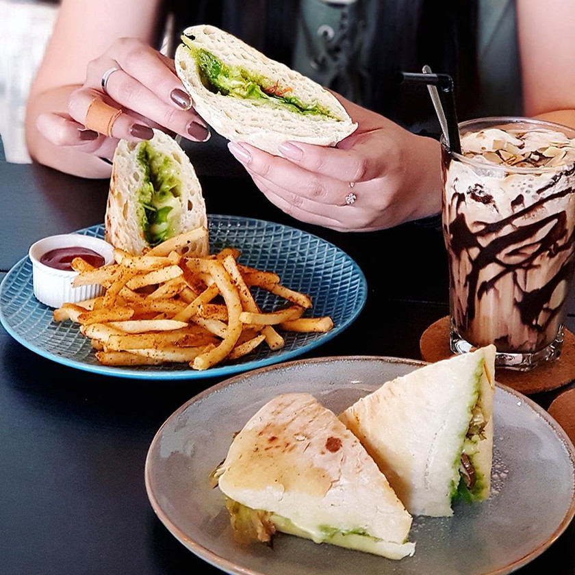 Panini with Fries and Melbourne Iced Coffee at Just Caffe