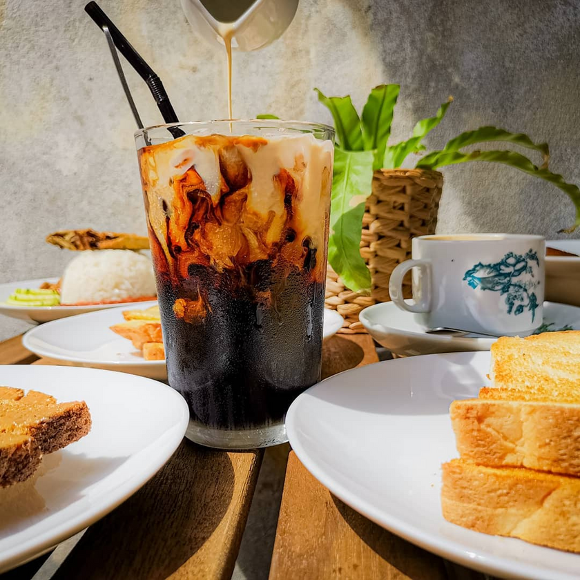 Nasi Lemak, Ice Coffee and Roti Bakar at Coffee Cave Cafe by Toh Soon