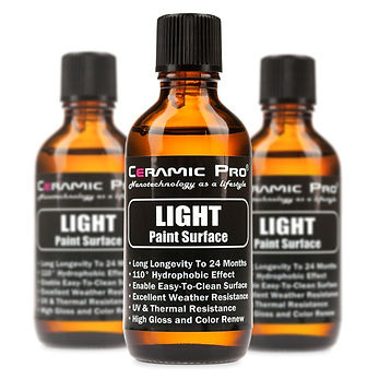 Ceramic Pro Light is a Nano-Ceramic Protective Paint Coating with durability of up to 24 months.  Ceramic Pro Light is a protective coating with a durability of up to 24 months that features a High Gloss finish, superior Super Hydrophobic Effect, Chemical Resistance, UV Resistance, Thermal Resistance and Anti-Grafitti.  Both the Super Hydrophobic and Anti-Grafiti effect combined mean the surface coated with Light will stay cleaner for longer as dirt and grime will not stick to the surface and the super hydrophobic effect of the coating will cause water to bead up and roll of the surface with any dirt and grime.  The unique formulation of Light enables it to be layered up to 2 times for even more gloss and protection, for best results Ceramic Pro Light can be applied over Ceramic Pro 9H to increase gloss and super hydrophobic effect.