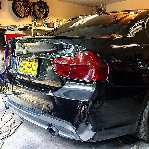Project BMW 335i Paint Corretion(wet sand deeper scrathes), 1 layer of Cermaic Pro, 1 layer of CP Light Taillights Tinted Medium Smoke Custom BMW Emblems Wheels Powder Coated &Calipers Painted