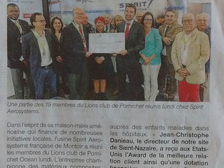 Spirit Aerosystems offre 3 000€ au Club