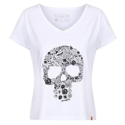 Moto Girl Flower Skull