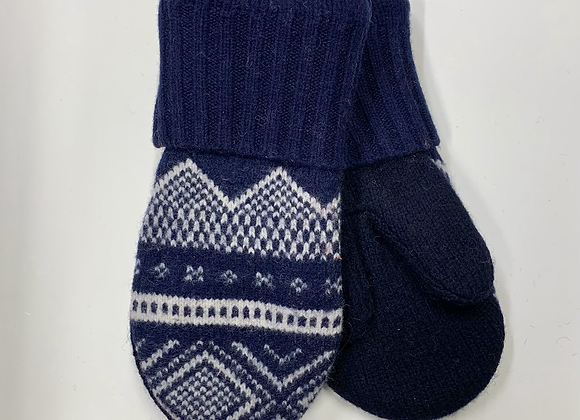 Navy & White Mittens