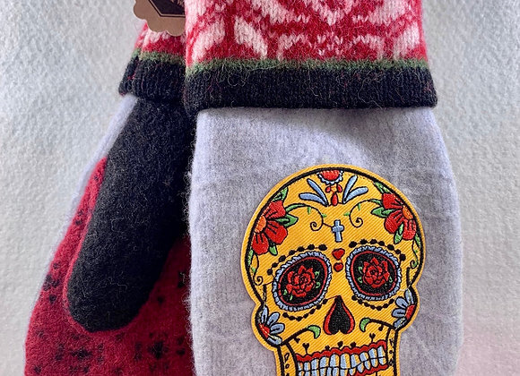 Sugar Skulls with Pale Blue and Red Mittens