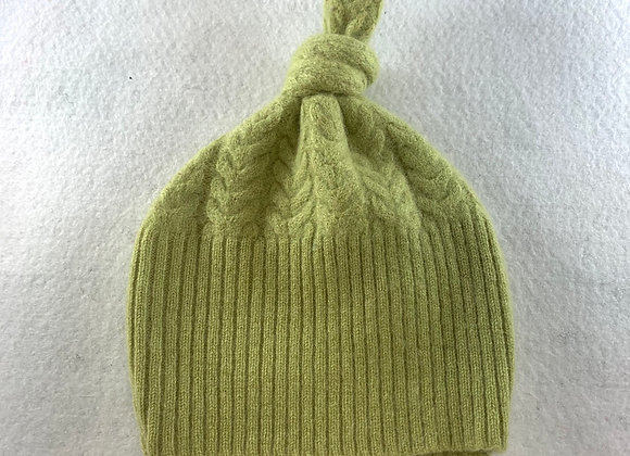 Apple Green Cabled Cashmere Beanie