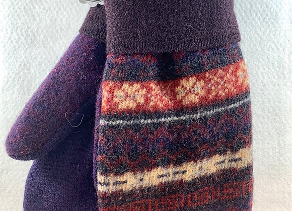 Blue & Red Nordic Mittens-Large