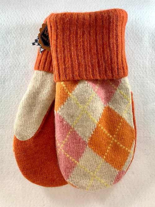 Pink and Orange Argyle Mittens