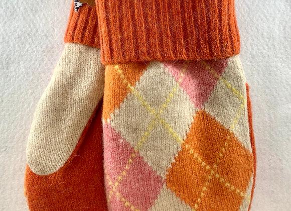 Pink and Orange Argyle Mittens