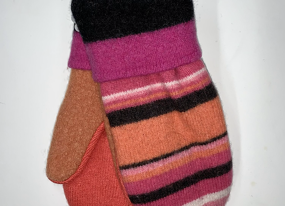 Stripes of Pink, Melon & Brown Mittens