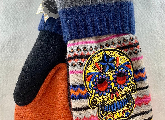 Sugar Skulls with Blue and Pink Stripes