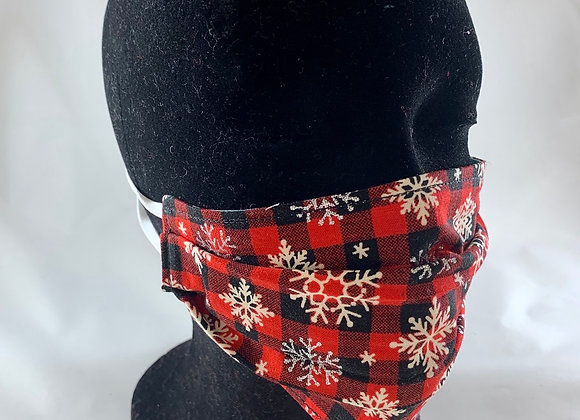 Snowflake Plaid and Penguin Reversible Face Mask