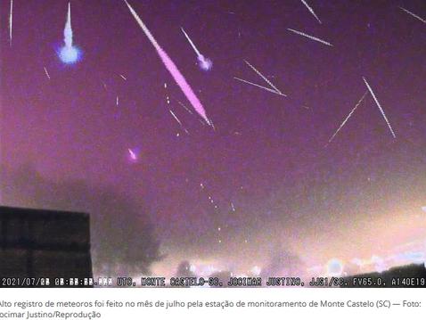 Com chuvas de meteoros, julho contabiliza mais de 2,4 mil registros do fenômeno em SC