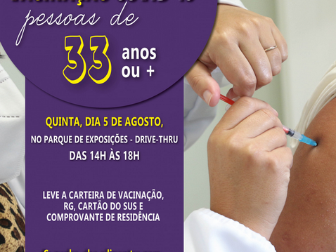 Pessoas com 33 anos serão imunizadas na quinta em Canoinhas