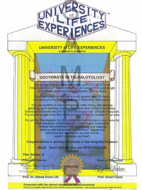 Doctorate in Talkalotology