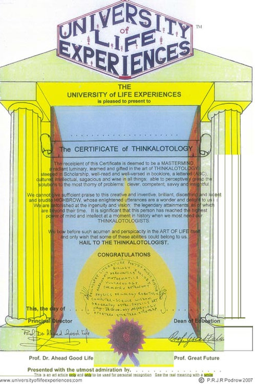 The Certificate of Thinkalotology