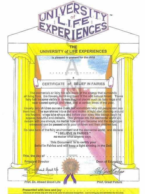 Certificate of Belief in Fairies