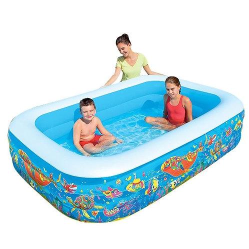 """54121 BW, BestWay, Надувной прямоугольный бассейн """"Подводный мир"""" 305х183х56 см"""