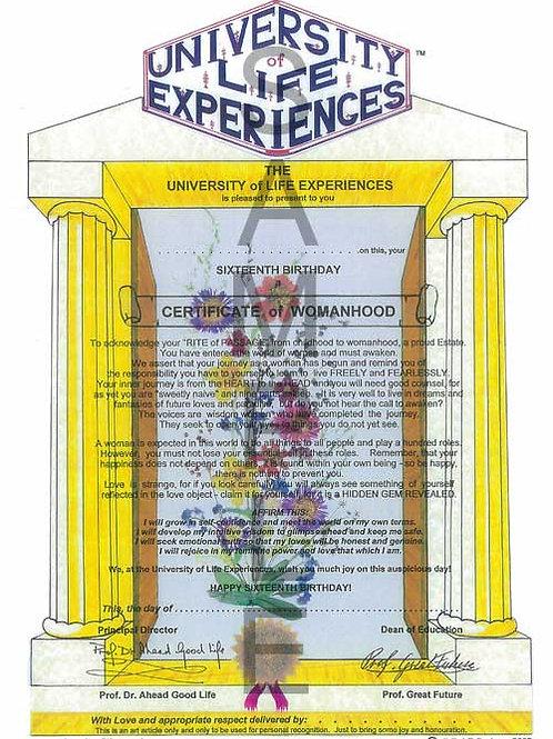 Certificate of Womanhood