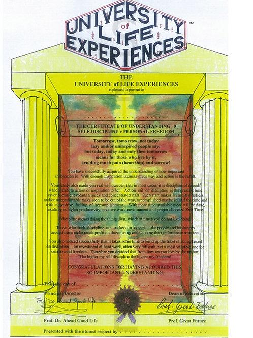 Certificate Of Understanding 9 - Self-Discipline v Personal Freedom