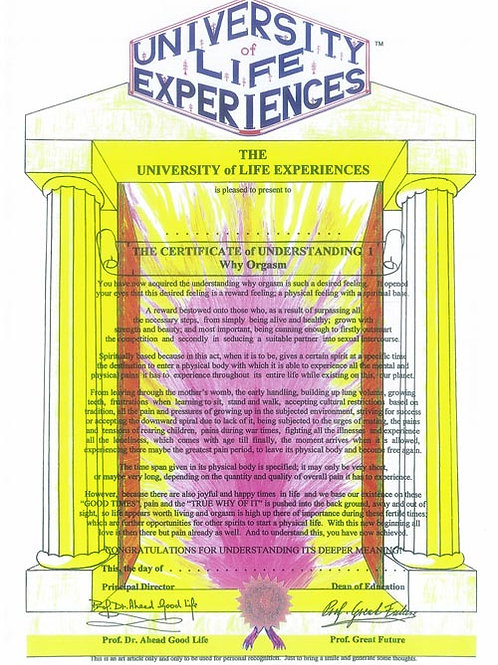 Certificate Of Understanding 1 - Why Orgasm
