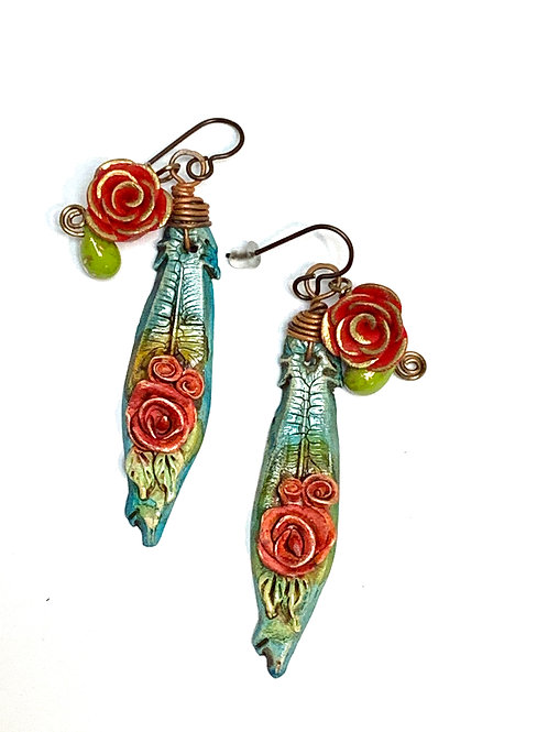 Polymer Clay Roses and Feathers Earrings by Linda Davidson
