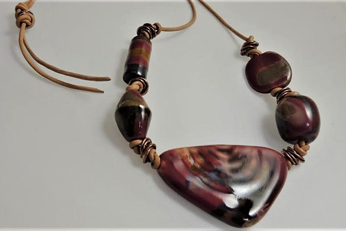 Artisan Pottery Beads with Leather Cord and Brass Accents by Karen Drazen