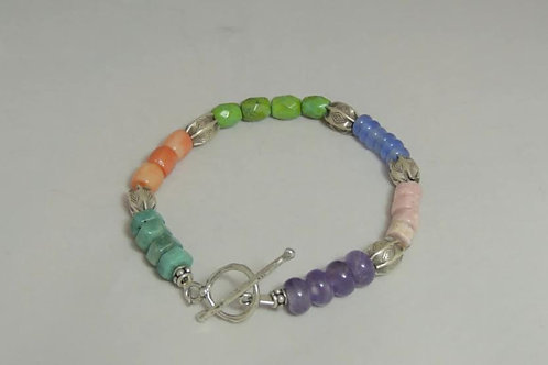 Multi-Color Gemstone and Silver Bracelet by Karen Drazen