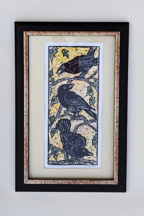 Framed Three Whimsical Crows