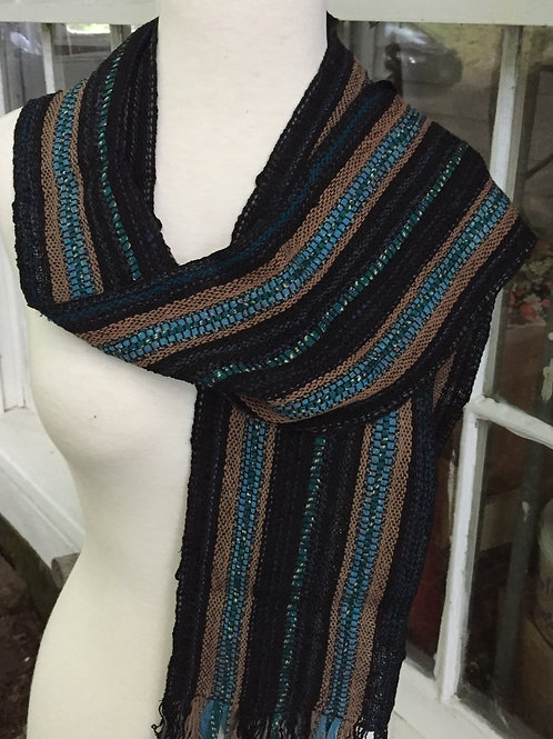 Black and Teal Scarf by Kathy Weigold