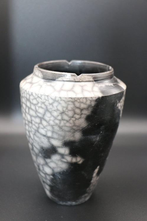 Black& White Naked Raku Vase by Shelly Napoletano Flynn