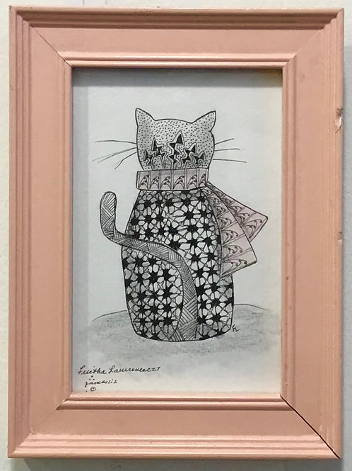 Cat with Pink Scarf by Frietha Lawerence