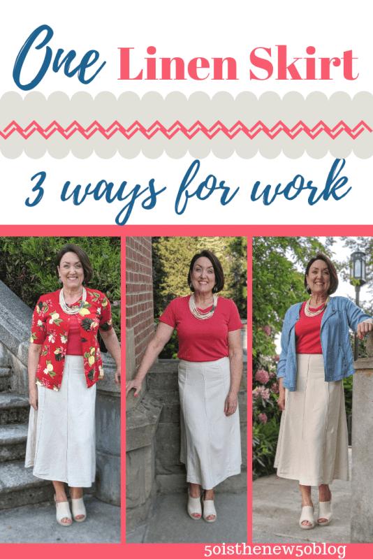 One flax linen skirt three ways for work.  Summer work wear outfit ideas.