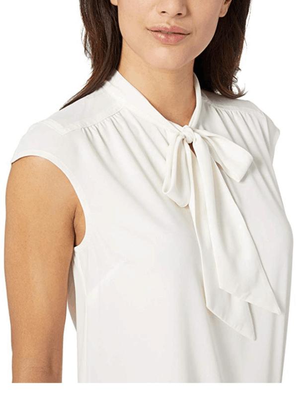 Lark and  Roe Tie Neck Blouse winter white amazon fashion