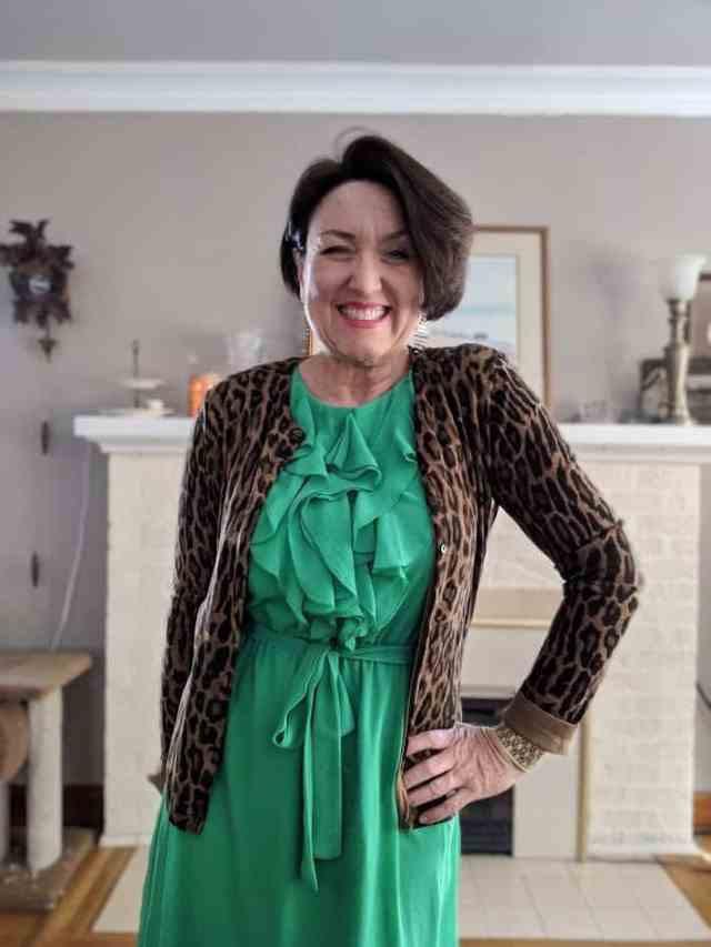 Leopard print cardigan with kelly green ruffle dress thrift shop fashion