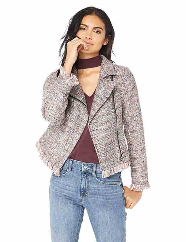 cupcakes and cashmere canter tweed pink and grey pastel moto jacket