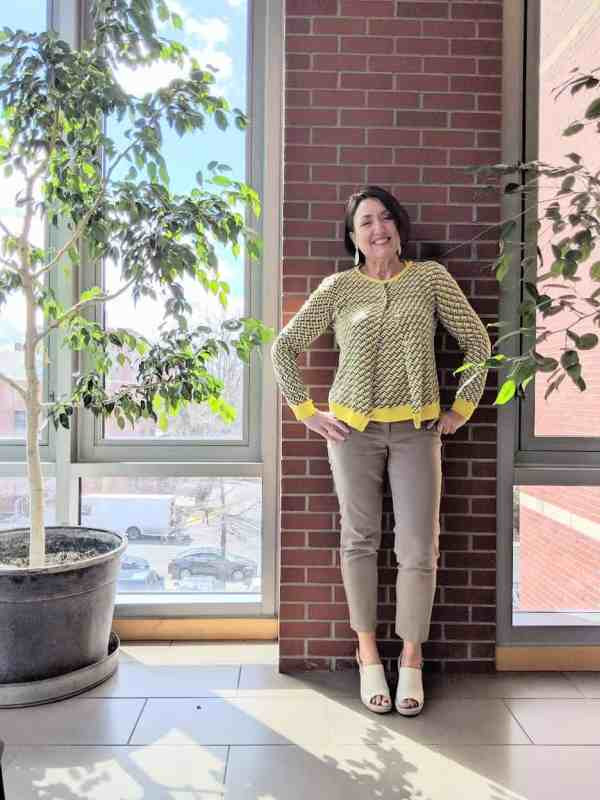 yellow print cardigan and tan pants work wear outfit for spring with oxford linen wedges