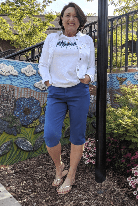 One other Summer essential I just have to have is a white denim jacket.  This cute, stretchy white denim jacket layers beautifully over tops, tanks and dresses alike!