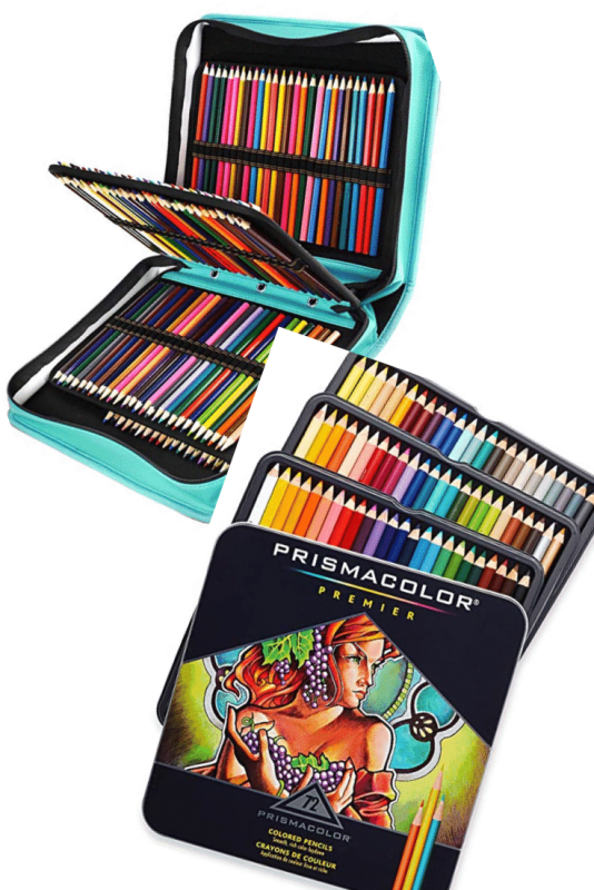 Prismacolor pencils and carrying case wallet.