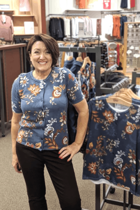 blue and rust floral printed cardigan outfit for fall from christopher and banks