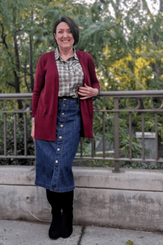 Wear this claret red Cardigan with a Button Front Denim Skirt,  a Drapey Plaid Shirt  and pair of knee high boots for a classic yet casual Fall look!
