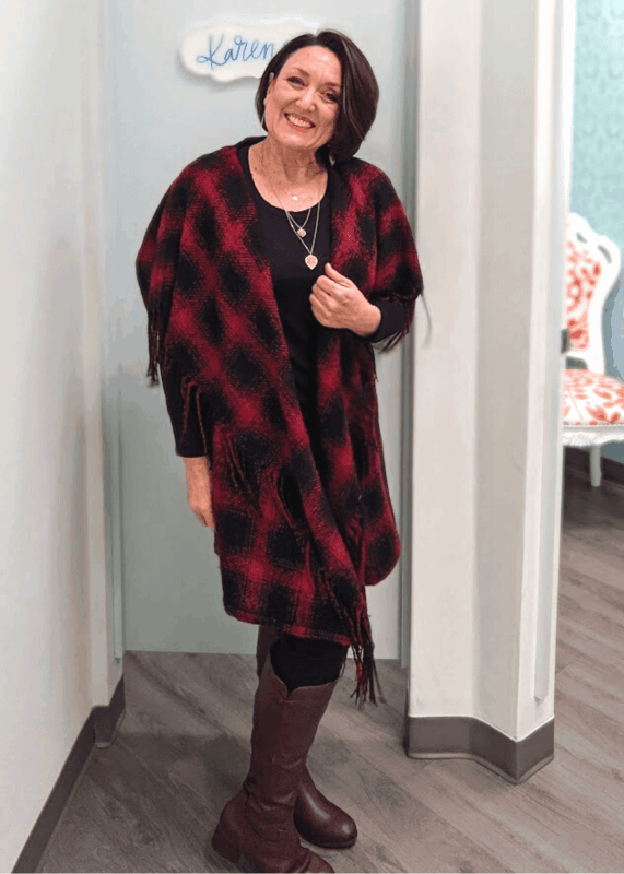 Maurices red and black buffalo plaid open front vest with fringe